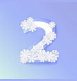 winter two 2 number with snowflakes ice vector image
