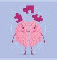 world mental health day cartoon brain puzzles vector image vector image