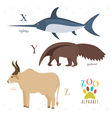 Zoo alphabet with funny cartoon animals X y z vector image