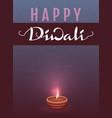 happy diwali indian festival of lights lettering vector image