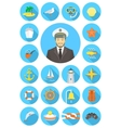 Flat nautical icons with young attractive captain vector image