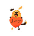 a happy dog with valentine and message i love vector image vector image