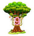 a tree with a number nine figure vector image