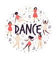 abstract circle design with cute dancing women vector image