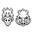 Angry wild boar heads character vector image vector image