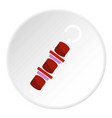 barbecue kebab on skewer icon circle vector image