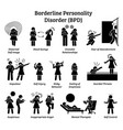 borderline personality disorder bpd signs and vector image vector image