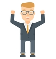 Businessman standing with raised arms up vector image vector image