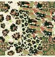 camouflage tartan paisley leopard fabric collage vector image vector image