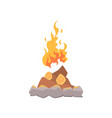 campfire bonfire surrounded by stones cartoon vector image vector image