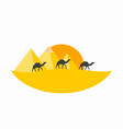 caravan camels against over pyramids egyptian vector image