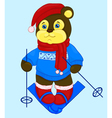 cartoon bear in a cap and a sweater ski vector image vector image