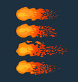 cartoon flying fireballs on a dark background vector image vector image