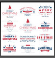 chrismtas typographic sets red and white vector image