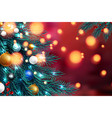 christmas tree branches on a dark night bokeh vector image vector image