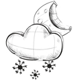Cloud with snowflakes and moon weather icon vector image vector image