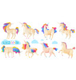 collection of magic unicorns vector image vector image