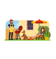 couple having a bbq on backyard vector image vector image
