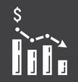 declining graph glyph icon business and finance