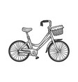 female urban bicycle sketch engraving vector image
