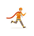 fireman character running with water hose vector image vector image