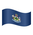 flag of maine waving on white background vector image vector image