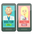 flat mobile doctor personalized medicine male and vector image
