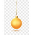 gold christmas ball with ribbon and bow realistic vector image vector image