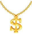 Gold dollar symbol on golden chain hip hop vector image vector image