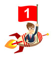 happy businessman with number one flag on a rocket vector image vector image