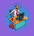 happy male businessman works at an office vector image vector image