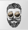 head of a man with a mustache beard and coffee vector image