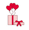 hearts balloons with gift box isolated icon vector image vector image