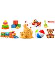 kids toys train plane castle ball cubes bear 3d vector image