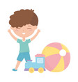 kids zone cute little boy train ball cartoon toys vector image