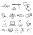 logistics and delivery outline icons in set vector image vector image