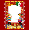 mexican holiday frame with mariachi musicians vector image vector image
