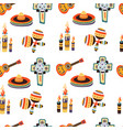 mexico seamless pattern with candles sombrero and vector image