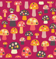 mushrooms seamless pattern pink background vector image