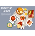 National hungarian cuisine dishes set vector image