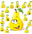pear cartoon with many expressions vector image vector image