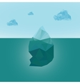 Polygonal iceberg glacier landscape with clouds vector image