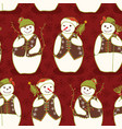 red christmas festive winter snowman star friends vector image