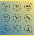 repair icons line style set with shovel multi vector image