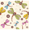 Seamless pattern with dragonfly and flower vector image vector image