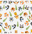 seamless pattern with puppets wild animal vector image