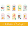 set gift tags and labels with cute sea animals vector image vector image
