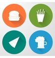 Set icons of fast food in flat style vector image vector image