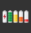 set of battery charge level indicator on black vector image