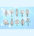 set of winter doodle sketch trees on blue vector image vector image